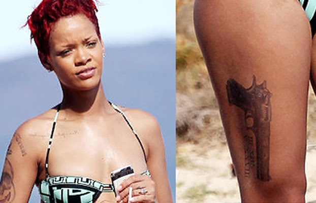 rihanna new thigh tattoo