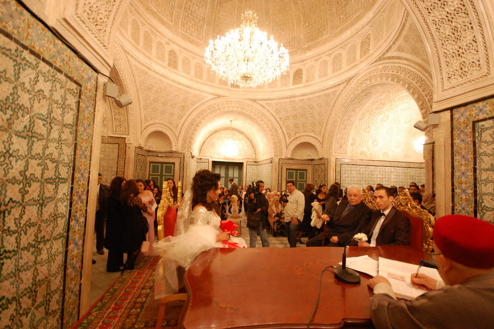The Ceremony Took Place Tonight In A Beautiful Turkish Style Palace With Bride And Groom Sitting On An Elevated Surface Fathers Of Each