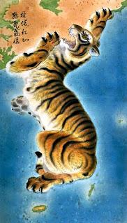 Mapa de Corea representando la figura de un tigre