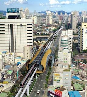 Vista aérea de la línea 3 del metro de Daegu