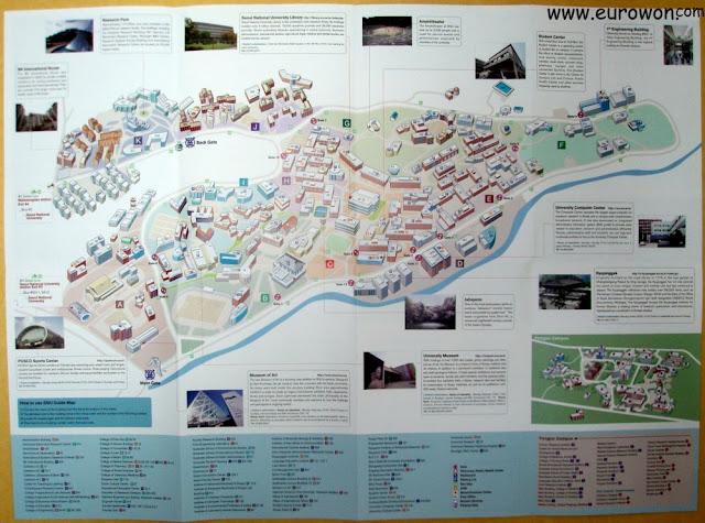 Mapa del campus de Gwanak de la Universidad Nacional de Seúl
