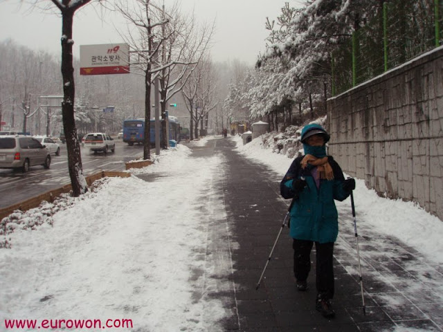 Ajumma coreana protegida contra la nieve