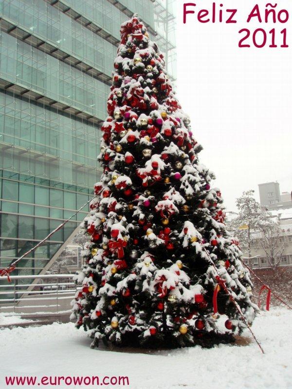 Árbol de Navidad nevado en Corea
