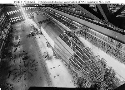 Construcción del USS Shenandoah (ZR-1) en 1923