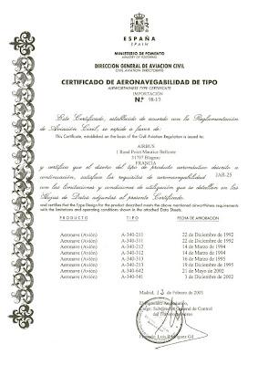 Certificado de Aeronavegabilidad del Airbus A340, emitido por la DGAC