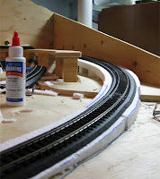 Foam roadbed installation with track