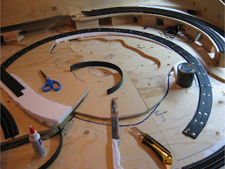 Construction of track on right half of layout