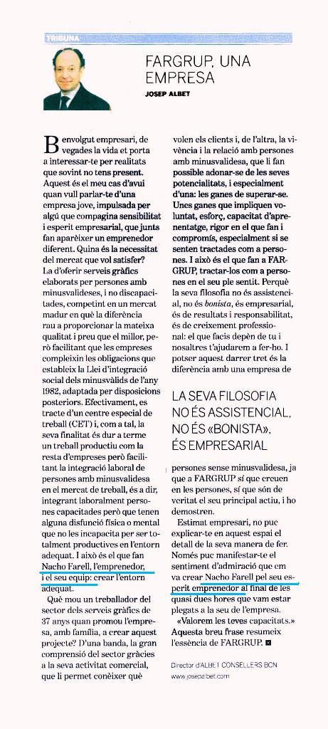 2008. FARGRUP (Mataró): en Nacho Farell destacat com a empresari. (Dossier Econòmic. Desembre 2008)