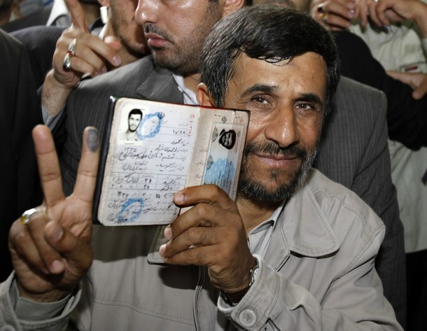[President+Mahmoud+Ahmadinejad+holds+his+passport+while+flashing+the+victory+sign+after+casting+ballot+Iranian+presidential+election+Tehran+June+12,+2009.jpg]
