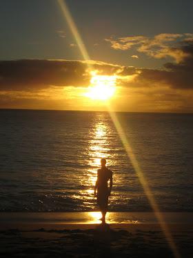 My husband, the beach model...