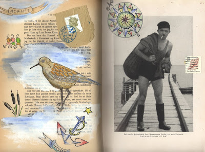 mixed media collage altered book page by artist Bronwyn Simons in 1940's nautical theme