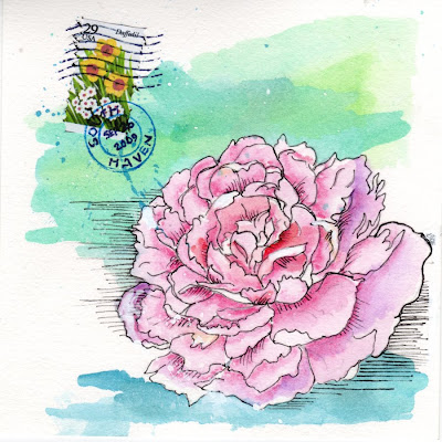 hand painted water color and collaged wedding card with pink peony, by Bronwyn Simons