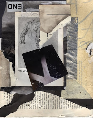 mixed media collage in black, white, and sepia using ink painting, vintage book pages, and other ephemera made as a workshop exercise by artist Bronwyn Simons