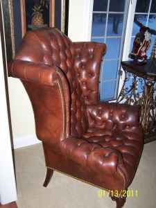 Lovely Old Hickory Tannery Leather Wingback Chair.
