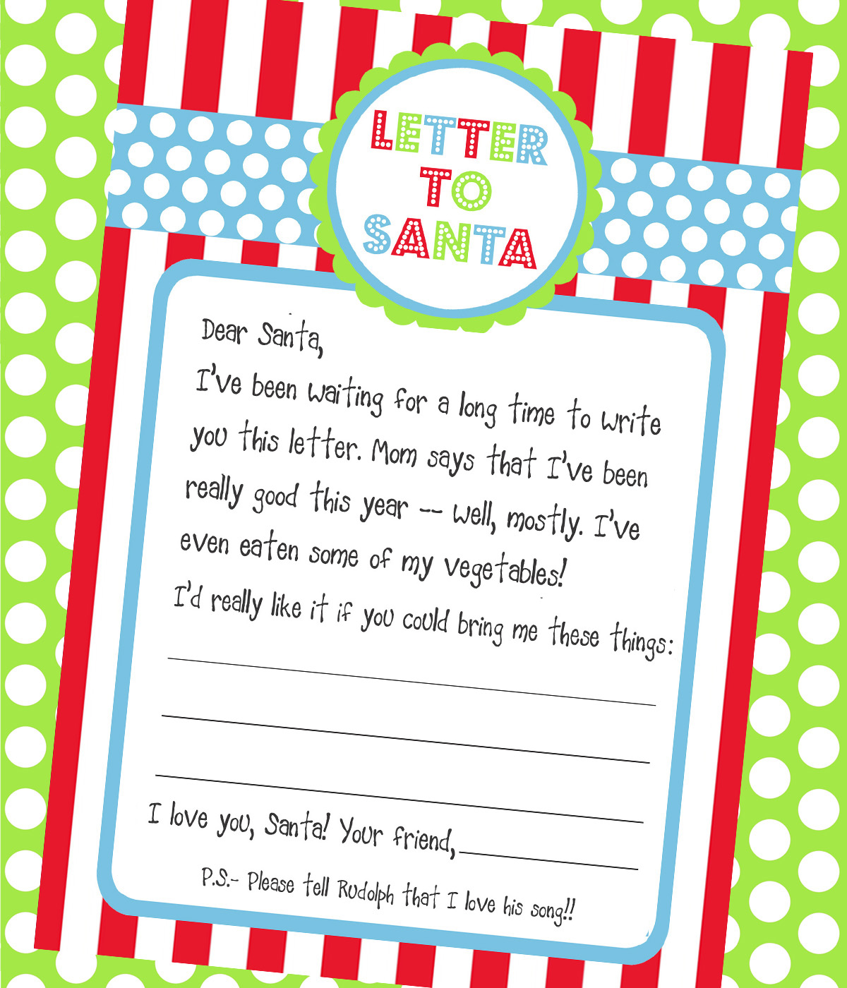 Effortless image with printable santa letters