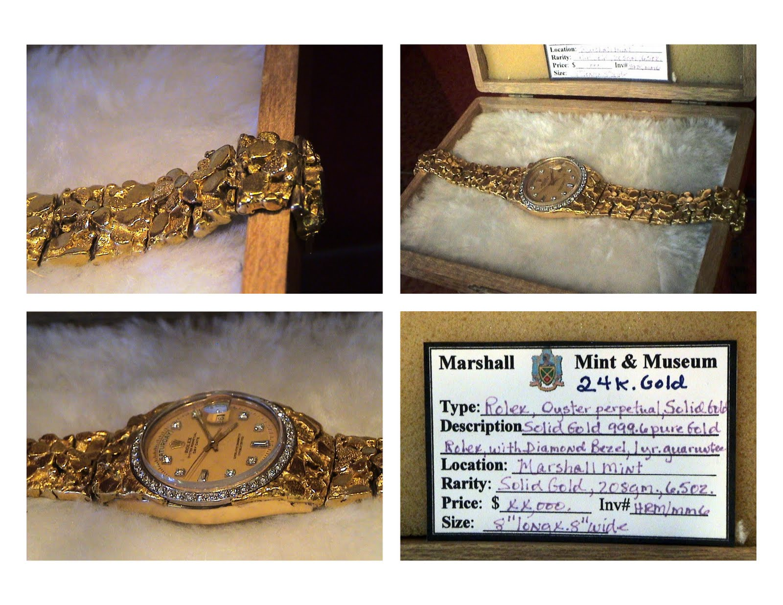 Comstock Ore Mm6 Rolex Watch 208g Of 999 6 Pure Gold Nuggets