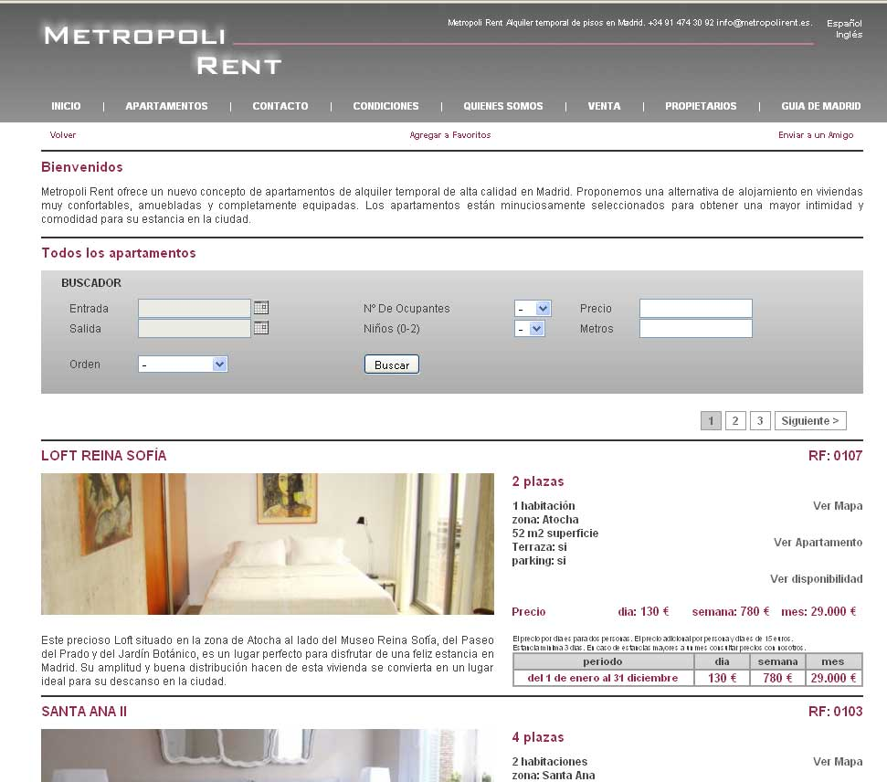 Sof a y metropoli rent alquiler pisos por un d a for Alquiler de pisos por dias
