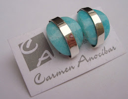 Aretes Amazonitas con cintas