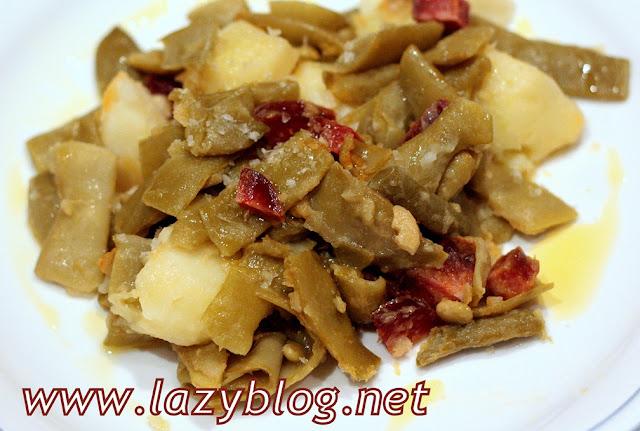 Lazy blog cenas ligeras jud as verdes con patata y chorizo - Judias con chorizo y patatas ...