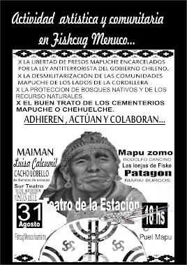 Afiche de actividades en apoyo de presos politicos Mapuche.