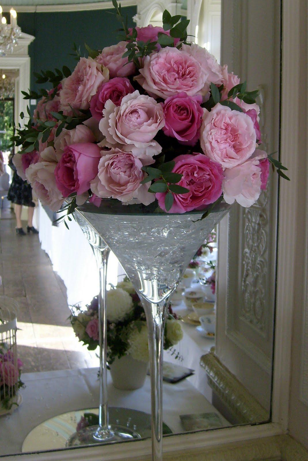 Bows blooms october 2010 martini vase arrangement of david austin miranda rosalind and emily country garden roses reviewsmspy