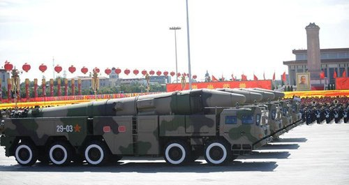 Dongfeng-21C conventional missile side team goes through Tiananmen Square of China