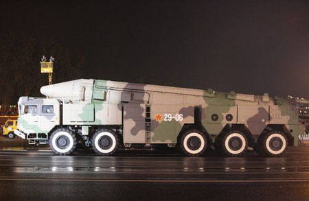 Chinese Dongfeng-21C missiles Officially unveiled to outside on the National Day military parade in 2009