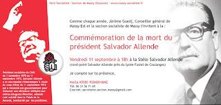 vendredi 11 septembre à Massy: commémoration de la mort du Président Salvador Allende