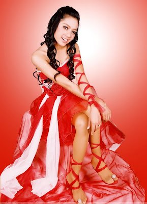 Khmer Singer Sok Sreyneang in Red Dress