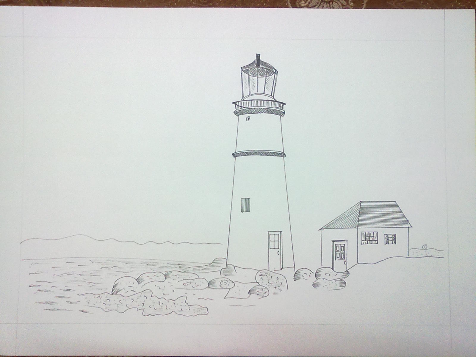 Beginning the journey of drawing light house near my for My dream house drawing