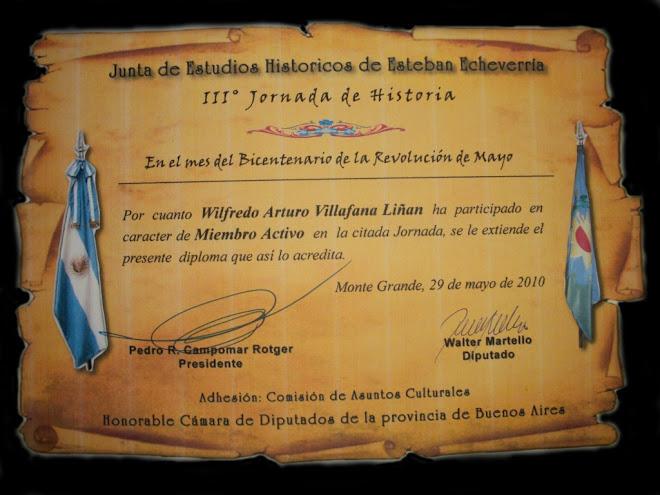 Diploma otorgado por la Junta de Estudios Históricos del Partido de Esteban Echeverría