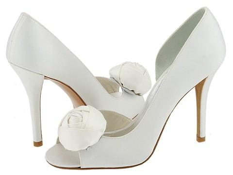 Summer wedding shoes either flats or kitten heels with handcut organza
