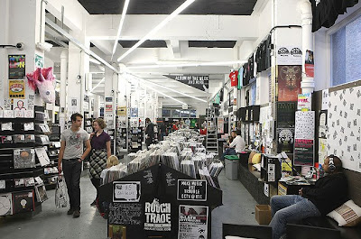 Rough Trade's super-sized new record shop on London's East End features a coffee bar and lounge seating.