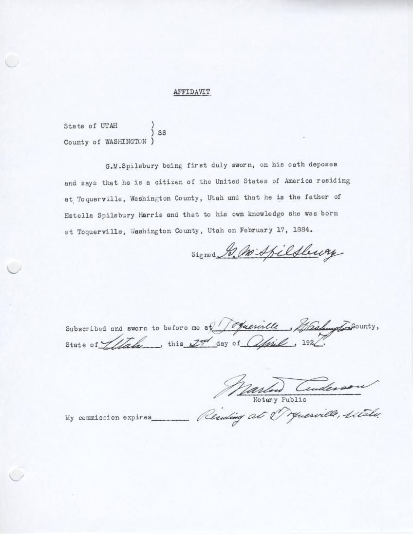Harris Family History Estella Spilsbury Harris Birth Certificate