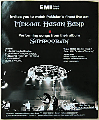 Mekaal Hasan Band Bombay Performance Invitation