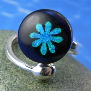 Girly Gear: Blue Dichroic Flower Ring :  flower blue girly dichroic