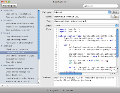 jCodeCollector 2.5 on Mac OS X
