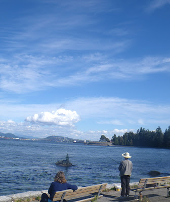 Fishing in Stanley Park, close to the Girl in a wet suit statue, Vancouver