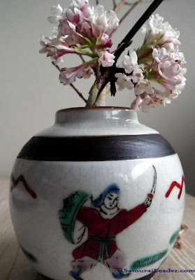 Samurai leader painted on a Chenghua miniature porcelain vase