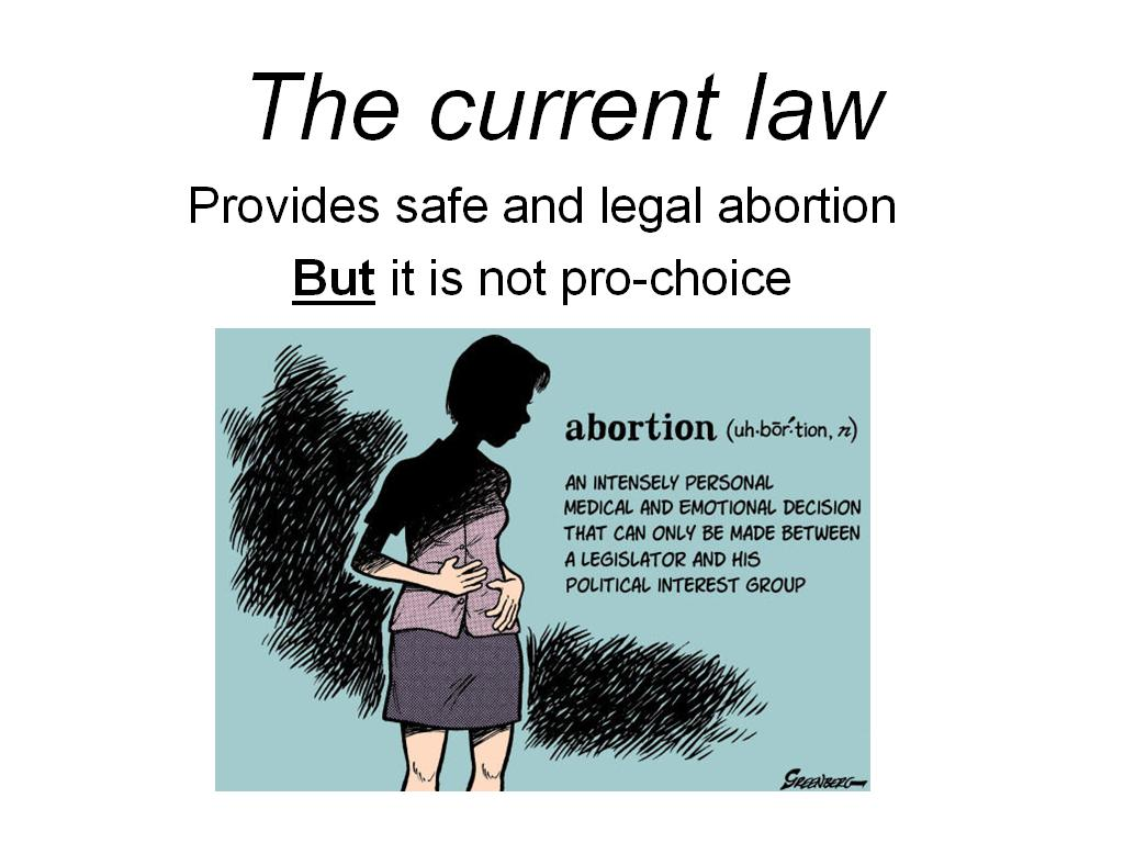 abortion should be legalize I personally would not get an abortion, but feel it should be legal it needs to rbe legal because reguardless of how the public feels or if there is a law against it, most women who want to terminate their pregnancy badly enough will find a way to do so i just don't think a law against it will keep people from doing it, i mean drugs are illegal, but look at the number of people using them.
