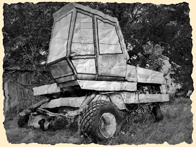 art166 digital tractor abandoned photograph photo-manipulation