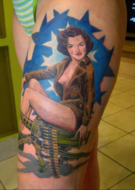 Pinup girl tattoos are awesome old school designs that can look great on