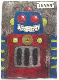 tin robot painting collage