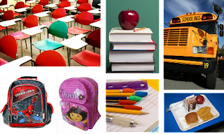 School collage: chairs, books, apple, school bus, spider-man and Dora backpacks, school lunch