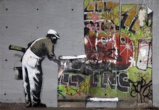 banksy wallpaper hanging