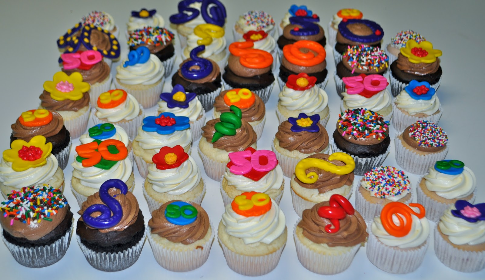 Cupcake Decorating Ideas For 50th Birthday : Coolest Cupcakes: 50th Birthday Cupcakes