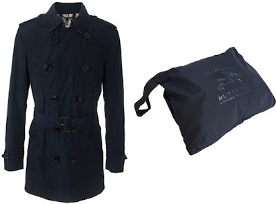 Burberry Navy Packable Trench Coat