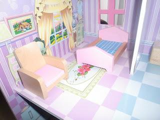habitación rosa de madera en miniatura