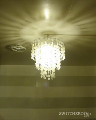 DIY chandelier, capiz chandelier, chandelier makeover, switcheroom