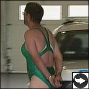 man in woman's swimsuit arrested